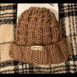 Chunky knit messy bun beanie